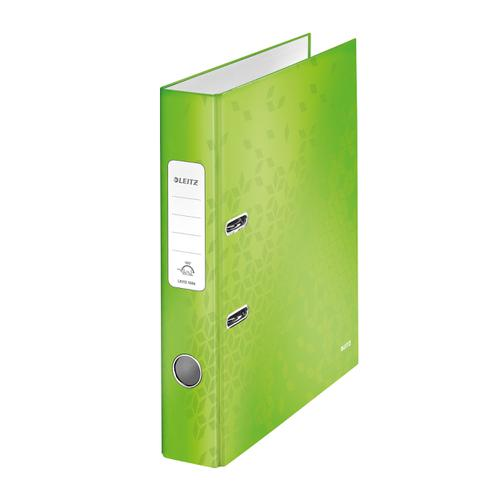 Leitz WOW Lever Arch File 80mm Spine for 600 Sheets A4 Green Ref 10050054 [Pack 10]