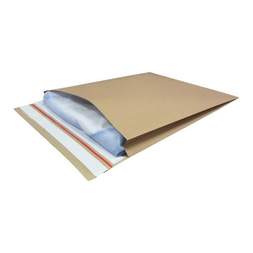 Kraft Mailer Eco V Bottom & Side Gusset Double P&S 350x450x40mm +100 flap Manilla Ref RBL10532 [Pack 50]