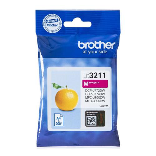 Brother Inkjet Cartridge Page Life 200pp Magenta Ref LC3211M
