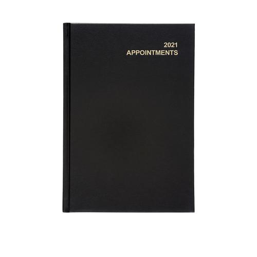 5 Star Office 2021 Appointment Diary Day to Page Casebound and Sewn Vinyl Coated Board A5 210x148mm Black