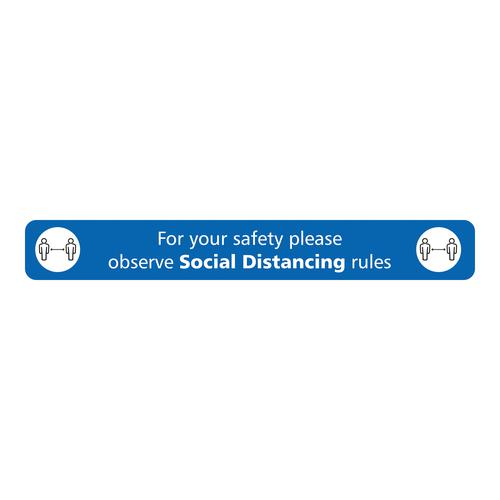 Social Distancing Floor Sign Blue  600x80mm Self Adhesive , with Anti Slip Laminate