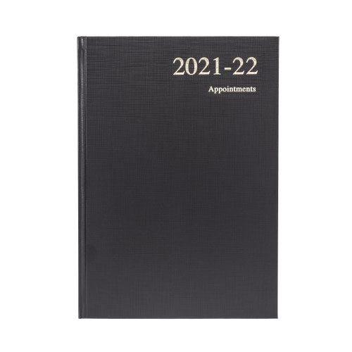 Collins Essential A5 Day to Page 2022 Diary Leathergrain Black