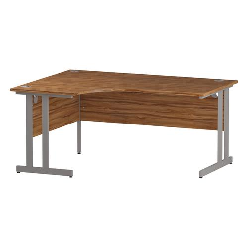 Trexus Radial Desk Left Hand Silver Cantilever Leg 1600mm Walnut Ref I002130