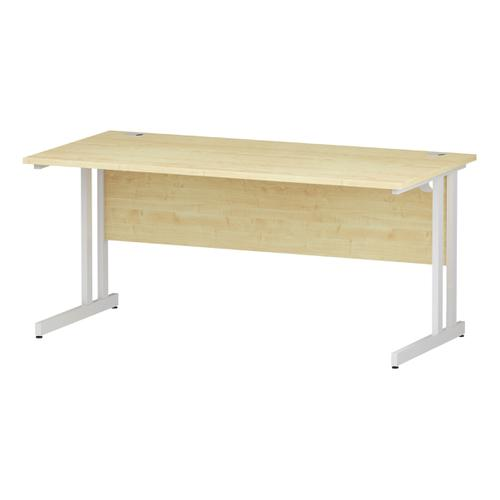 Trexus Rectangular Desk White Cantilever Leg 1600x800mm Maple Ref I002419