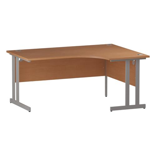 Trexus Radial Desk Right Hand Silver Cantilever Leg 1600mm Beech Ref I000300