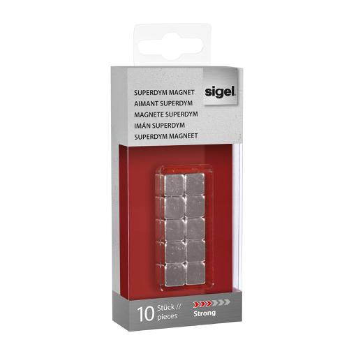 Sigel SuperDym Magnets C5 Cube Silver Ref GL193 [Pack 10]