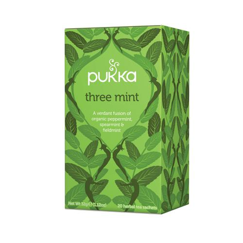 Pukka Individually Enveloped Tea Bags Three Mint Ref 5065000523435 [Pack 20]