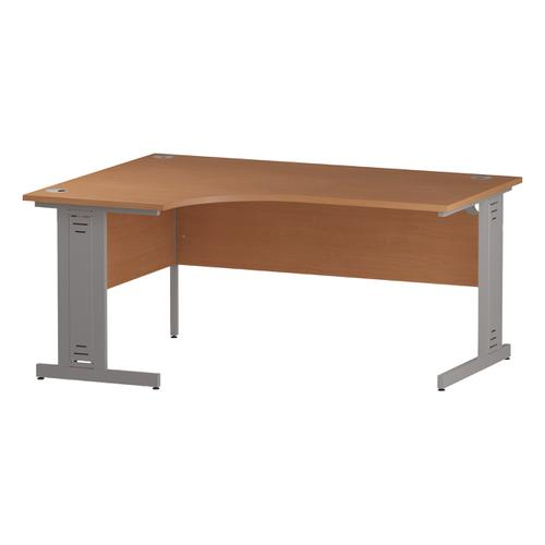 Trexus Radial Desk Left Hand Silver Cable Managed Leg 1600/1200mm Beech Ref I000472