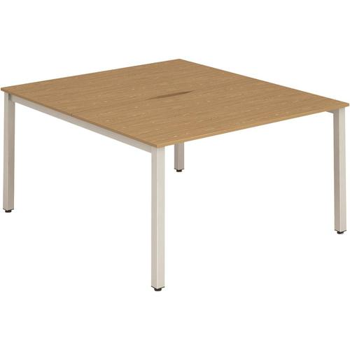 Trexus Bench Desk 2 Person Back to Back Configuration Silver Leg 1600x1600mm Oak Ref BE168