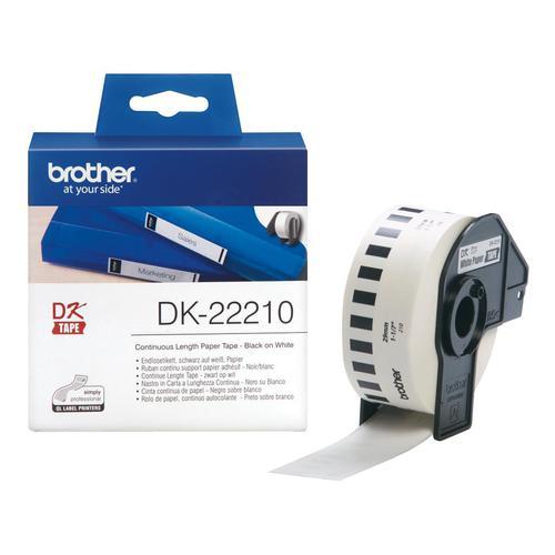 Brother DK22210 Paper Label Roll Tape 29mm Wide Black on White Ref DK22210-1