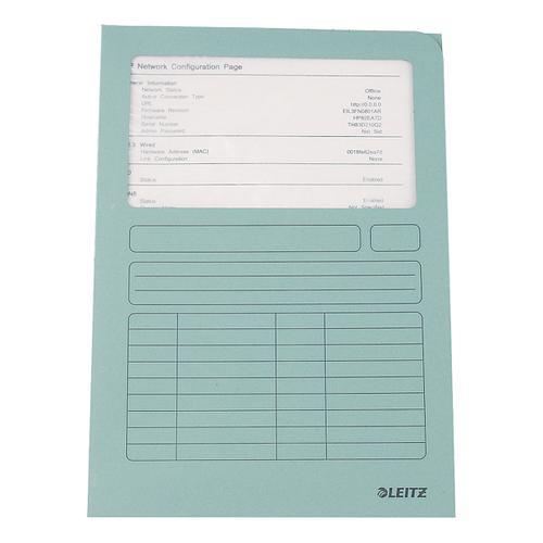 Leitz Window Folder 160gsm A4 Light Blue Ref 3950-00-30 [Pack 100]