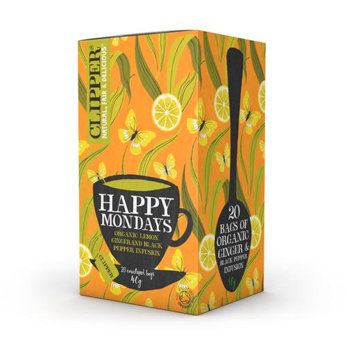 Clipper Organic Individually Enveloped Tea Bags Happy Monday Ref 0403348 [Pack 20]