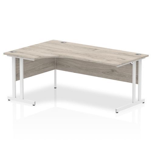 Trexus Radial Desk Left Hand White Cantilever Leg 1800mm Grey Oak Ref I003528