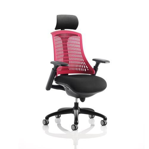 Trexus Flex Task Operator Chair With Arms and Headrest Black Fabric Seat Red Back Black Frame Ref KC0105