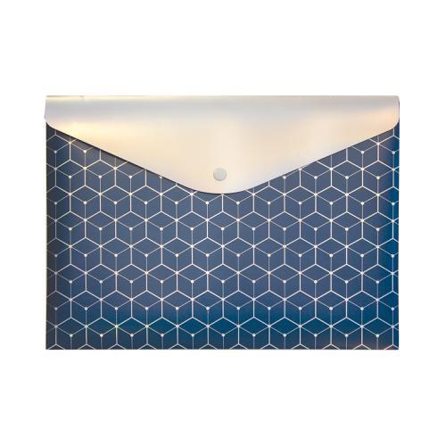 Pukka GLEE Document Wallet Popper PP W323xD36xH237mm Dark Blue Ref 8703 GLE DE [Pack 12]