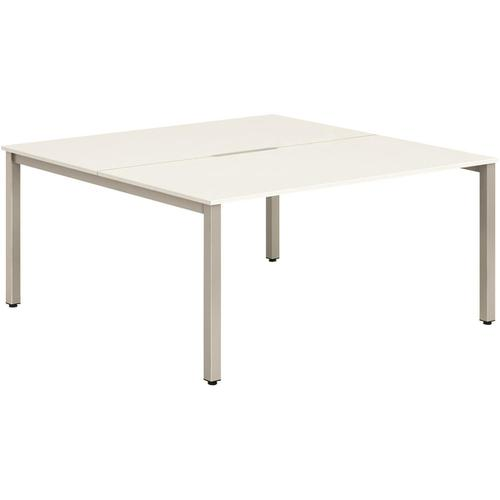 Trexus Bench Desk 2 Person Back to Back Configuration Silver Leg 1600x1600mm White Ref BE170