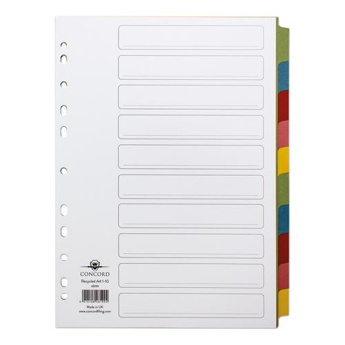 Concord Subject Dividers 10-Part Recycled Card Multipunched Multicolour-Tabs 150gsm A4 White Ref 48199