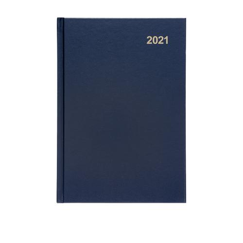 5 Star Office 2021 Diary Day to Page Casebound and Sewn Vinyl Coated Board A5 210x148mm Blue