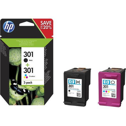 Hewlett Packard [HP] 301 Ink Carts Page Life Black 190pp Tri-Colour 165pp 3ml Ref N9J72AE [Pack 2]