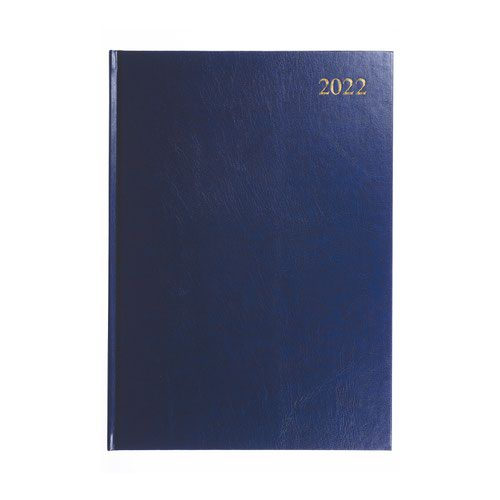 5 Star Office 2022 Diary Day to Page Casebound and Sewn Vinyl Coated Board A4 297x210mm Blue