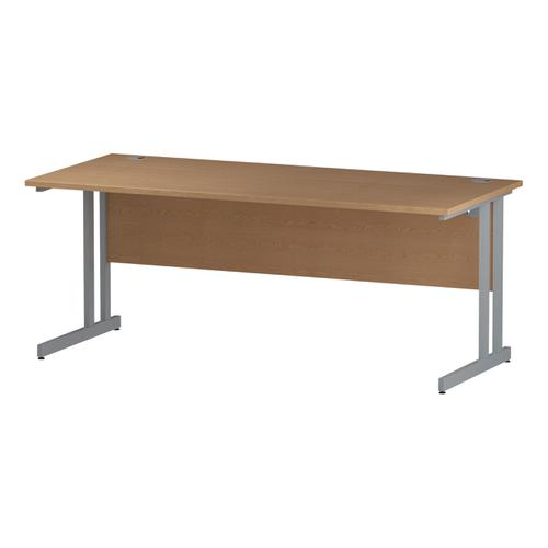 Trexus Rectangular Desk Silver Cantilever Leg 1800x800mm Oak Ref I000809
