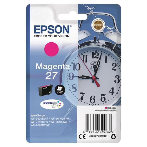 Epson 27 Inkjet Cartridge Alarm Clock Page Life 300pp 3.6ml Magenta Ref C13T27034012