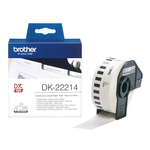 Brother PTouch DK-22214 12mmx30.48m Contin Ppr Tape for Ql-500/550 Ref DK22214 *3 to 5 Day Leadtime*
