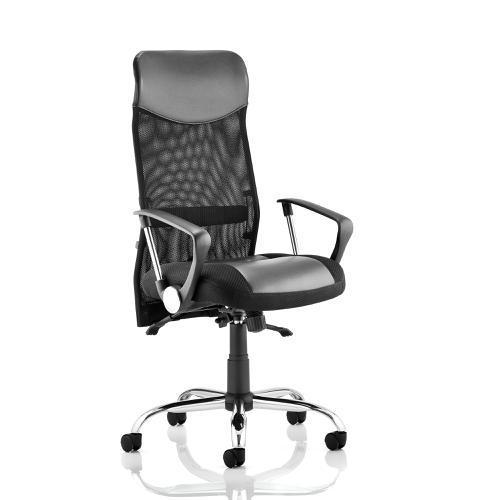 Trexus Vegas Executive Chair With Arms Leather Headrest Leather Seat Mesh Back Black Ref EX000074