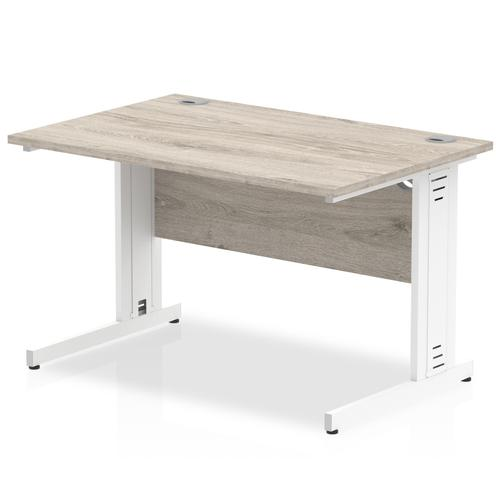 Trexus Rectangular Desk Silver Cable Managed Leg 1000x800mm Grey Oak Ref I003097