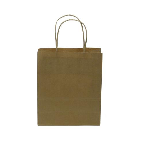 Kraft Paper Carrier Bag Twisted Handles Small 180x215x80mm 90g Natural Brown Ref 12925 [Pack 100]