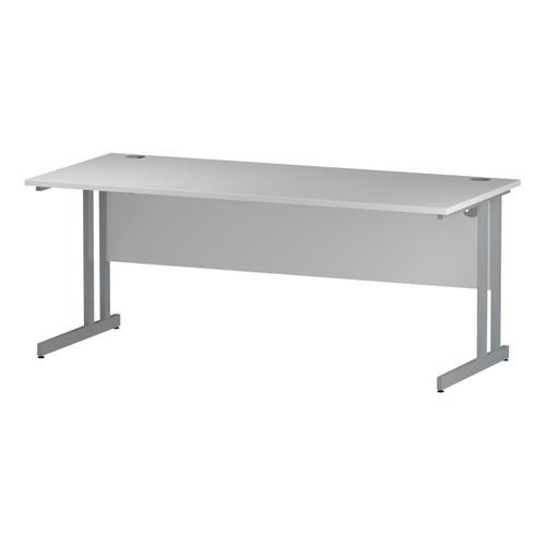 Trexus Rectangular Desk Silver Cantilever Leg 1800x800mm White Ref I000308