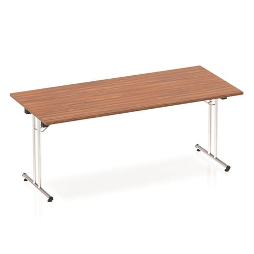 Sonix Rectangular Chrome Leg Folding Meeting Table 1800x800mm Walnut Ref I000701