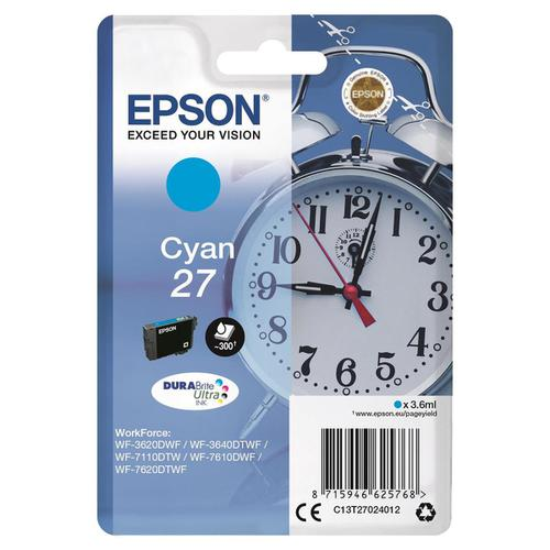 Epson 27 Inkjet Cartridge Alarm Clock Page Life 300pp 3.6ml Cyan Ref C13T27024012