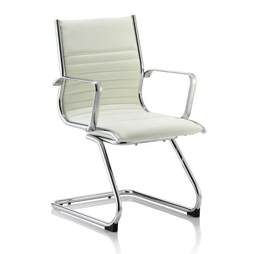 Sonix Ritz Cantilever Chair With Arms Bonded Leather Ivory Ref BR000124