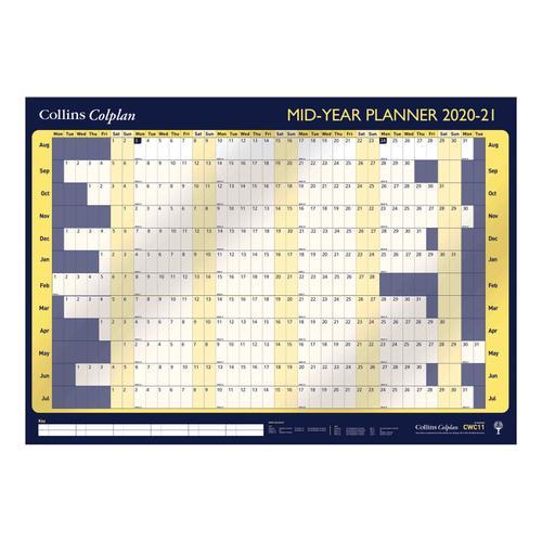 Collins 2020/21 Mid Year Planner Unmounted Landscape 840x594mm Ref CWC11 2021