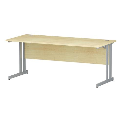 Trexus Rectangular Desk Silver Cantilever Leg 1800x800mm Maple Ref I000352