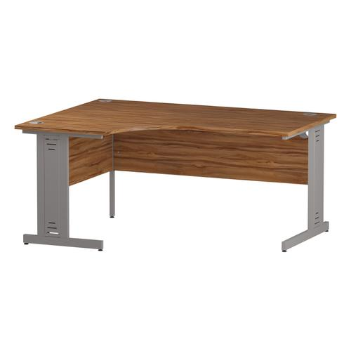 Trexus Radial Desk Left Hand Silver Cable Managed Leg 1600/1200mm Walnut Ref I002142