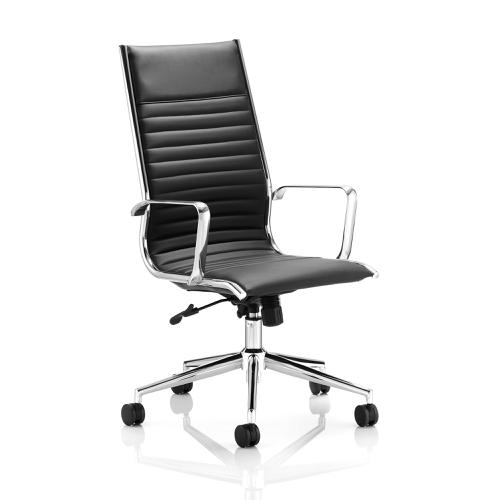 Sonix Ritz Executive High Back Chair With Arms Bonded Leather Black Ref EX000057