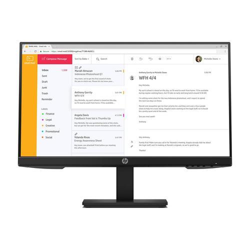 "HP P24h G4 LED Display Monitor 60.5cm 23.8"" 1920x1080 Pixel Full HD IPS Flat Screen Ref 7VH44AT#ABU"