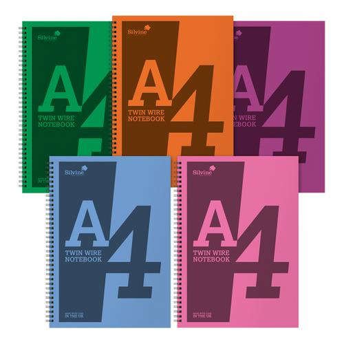 Silvine Notebook Polypropylene Wirebound 56gsm Ruled 160pp A4 Assorted Ref POLYA4AC[Pack 5]
