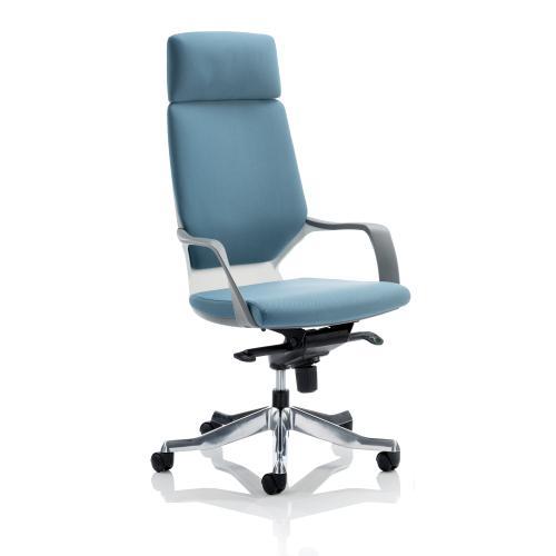 Adroit Xenon White Shell Head Rest Chair Blue 520x470x450-535mm Ref KC0227