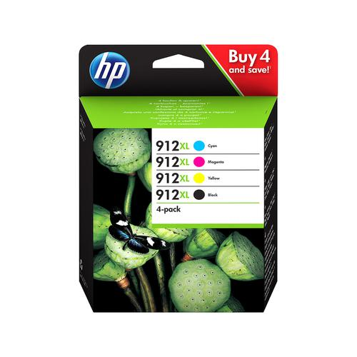 Hewlett Packard 912XL Inkjet Cartridge High Yield Black/Cyan/Magenta/Yellow Ref 3YP34AE [Pack 4]
