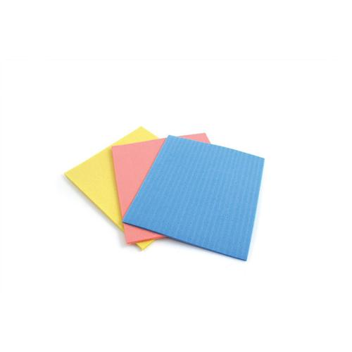 5 Star Facilities Sponge Cloths Cellulose W180xL180mm Assorted Colours [Pack 18]