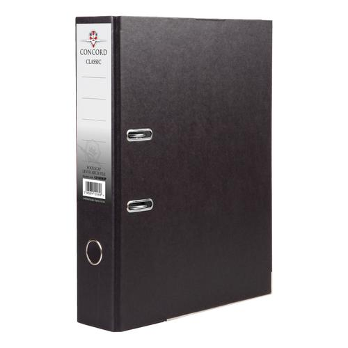 Concord Classic Lever Arch File Capacity 70mm Foolscap Black Ref C216056 [Pack 10]