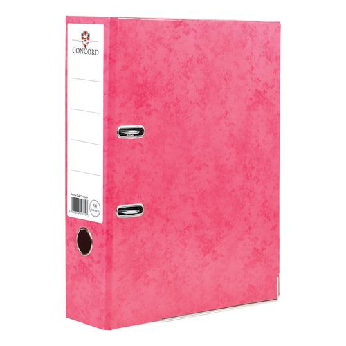 Concord Contrast Lever Arch File Laminated Capacity 70mm A4 Raspberry Ref 214708 [Pack 10]