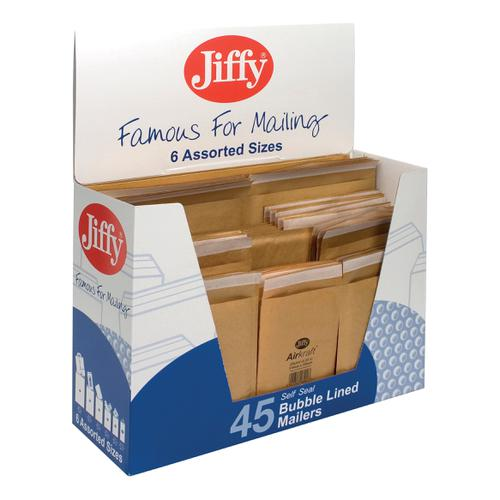 Jiffy Airkraft Bag Selection Box 10xNo.000 10xNo.00 10xNo.0 5xNo.1 5xNo.2 5xNo.4 Gold Ref 45-6 [Pack 45]