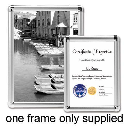 5 Star Facilities Clip Display Frame Aluminium with Fixings Front-loading A4 210x13x297mm Silver