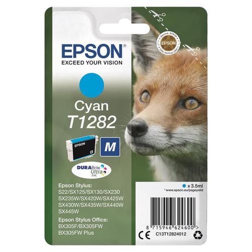 Epson T1282 Inkjet Cartridge Fox Page Life 250pp 3.5ml Cyan Ref C13T12824012
