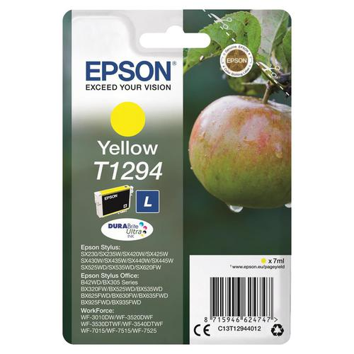 Epson T1294 Inkjet Cartridge Apple L Page Life 545pp 7ml Yellow Ref C13T12944012