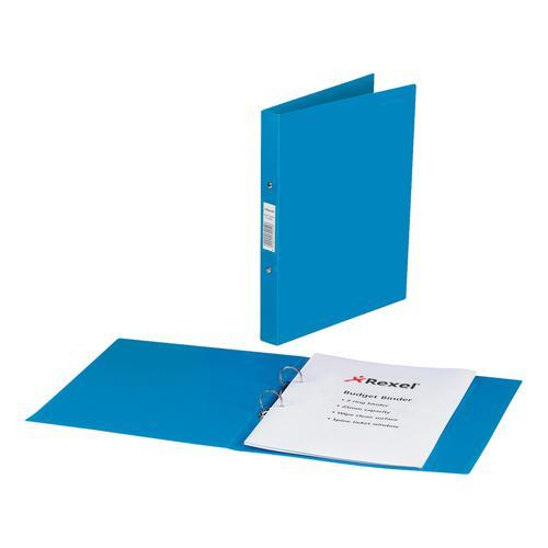 Rexel Budget Ring Binder Semi-rigid Polypropylene 2 O-Ring 25mm Size A4 Blue Ref 13422BU [Pack 10]